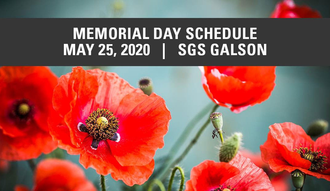 SGS GALSON MEMORIAL DAY SCHEDULE 2020